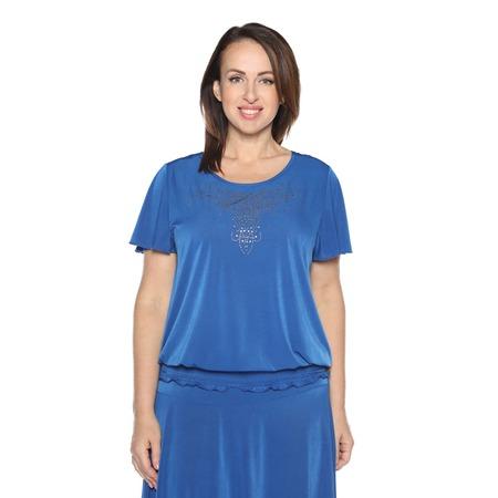 Купить Блуза «Ослепительная» с  мерцающим декором. Цвет: васильковый