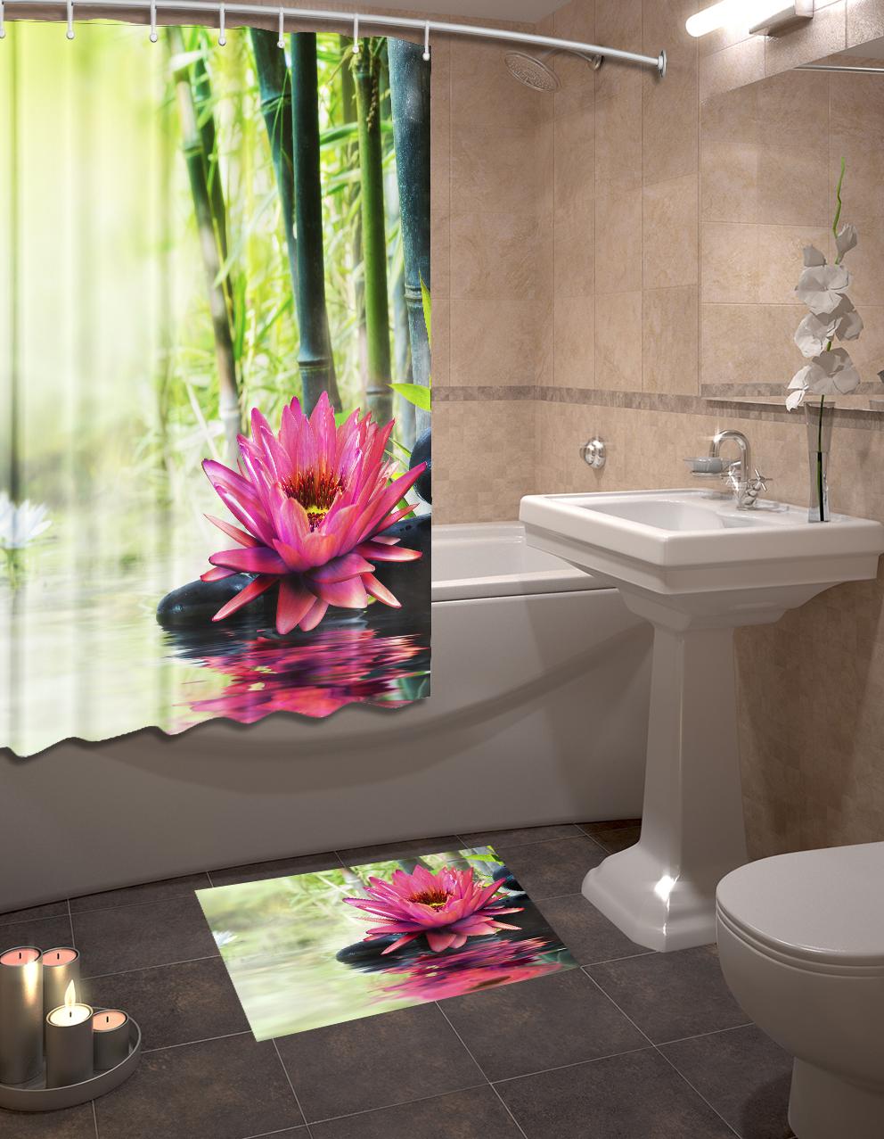 Набор для ванной комнаты: шторка и коврик ТамиТекс «Кувшинки»