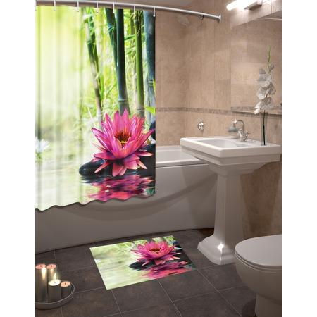 Купить Набор для ванной комнаты: шторка и коврик ТамиТекс «Кувшинки»