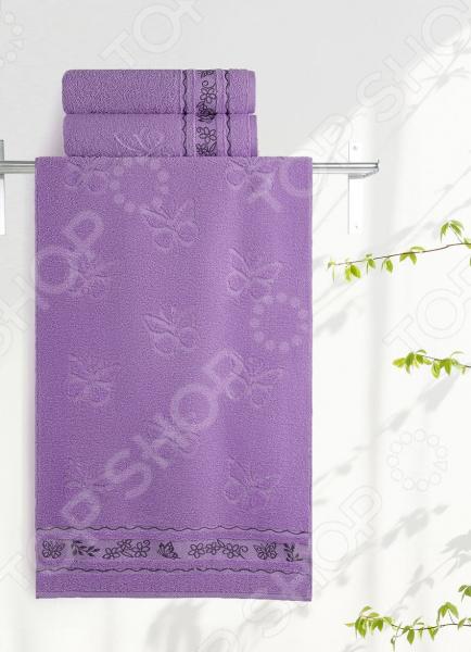 Полотенце махровое Aquarelle «Бабочки». Цвет: аметистовый