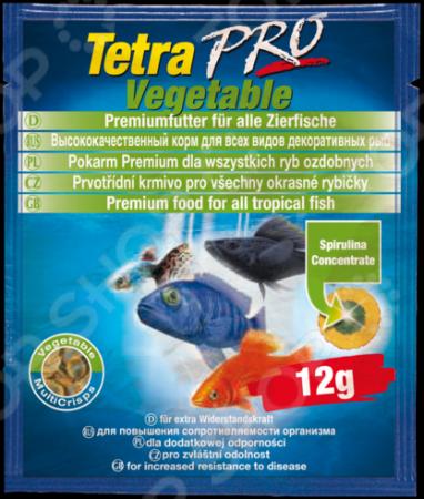 Корм для декоративных рыб Tetra Pro Algae 12г tetra корм для рыб tetra selection для всех видов рыб 4 вида хлопья чипсы гранулы 250мл
