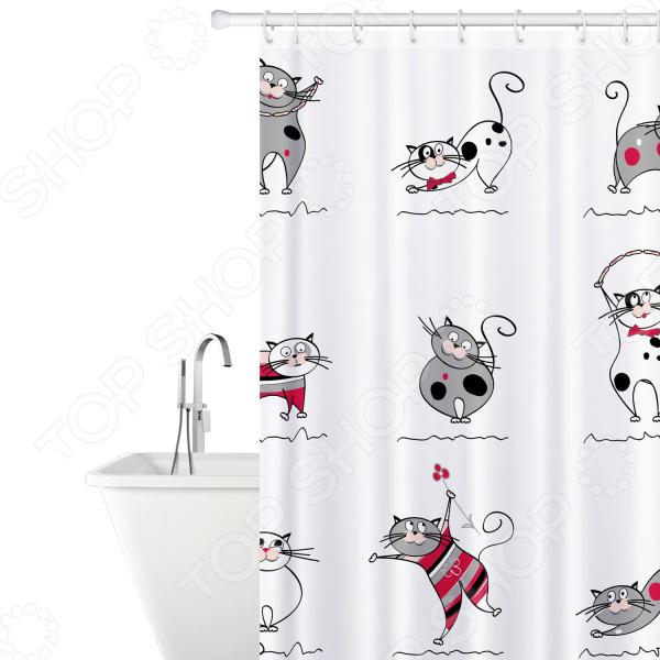 Штора для ванной Tatkraft Funny Cats Textile