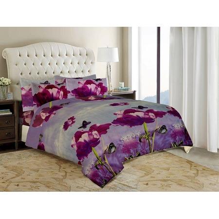 Купить Комплект постельного белья «Цветочная фантазия». 2-спальный. Рисунок: фиолетовые пионы