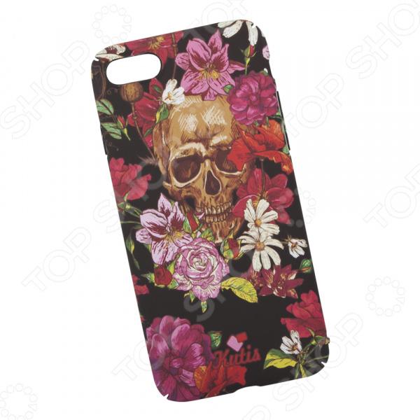Чехол для iPhone 7/8 KUtiS Skull BK-3 «Череп и цветы» аксессуар