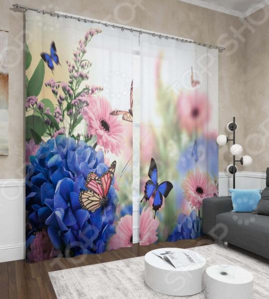 Фотошторы Сирень «Цветы и бабочки» сирень шторы для детской сказочные цветы