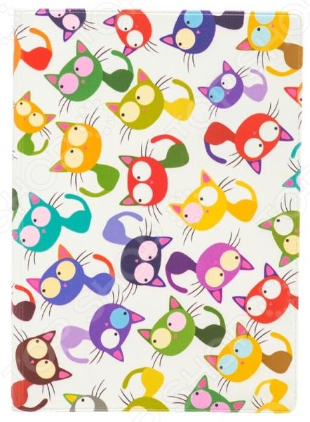 Обложка для паспорта кожаная Mitya Veselkov «Цветные кошки - мешанина»