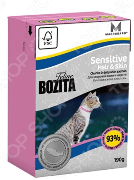 Корм консервированный для кошек с чувствительной кожей Bozita Sensitive Hair & Skin Chunks in Jelly with Salmon бозита мини консервы кусочки в соусе с мяcным коктейлем для кошек bozita mini feline chunks in sauce with meat mix 190 г