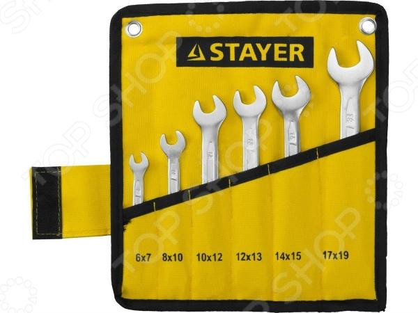 Набор ключей рожковых гаечных Stayer Profi 27035-H6 набор гаечных рожковых ключей 6 24мм 8шт stayer profi 27037 h8