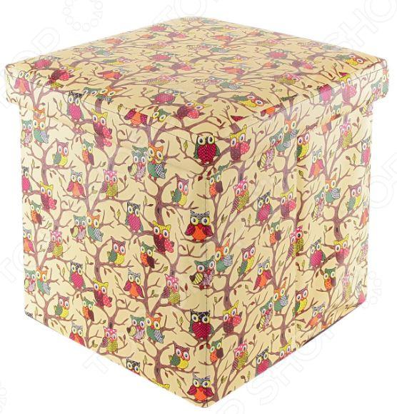 Пуф складной с ящиком для хранения EL Casa «Совы на ветках» Размер: 35х35 см EL Casa - артикул: 1321881