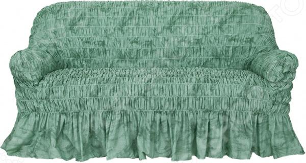 Натяжной чехол на трехместный диван Еврочехол «Фантазия. Зеленый»