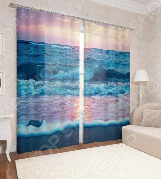 Фотошторы Сирень «Закат у синего моря»
