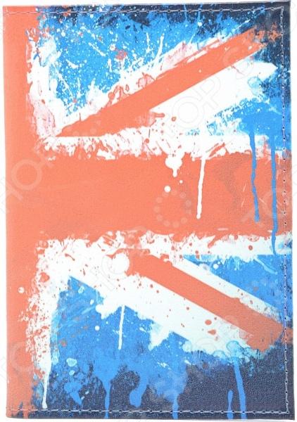 Обложка для автодокументов кожаная Mitya Veselkov «Британский флаг в краске»