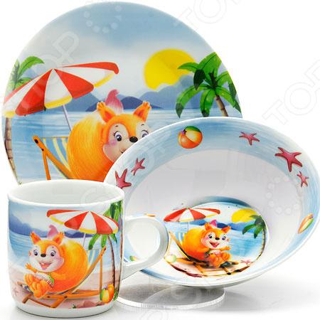 Набор посуды для детей Loraine LR-26095 «Белка» набор посуды loraine фея lr 24026 3 предмета детский