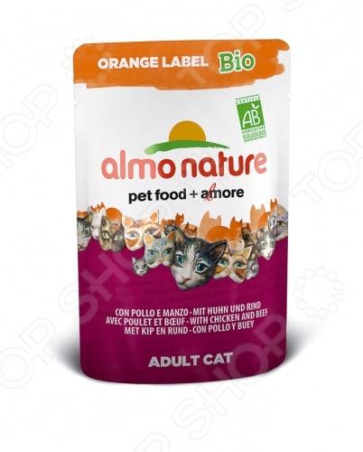 Корм влажный для кошек Almo Nature Orange Label Bio Adult with Chicken and Beef качественный и экологически чистый корм, который идеально подходит для вашего питомца. За счет идеально сбалансированного состава он будет идеальным решение для домашних кошек, склонных к полноте или кастрированных котов, стерилизованных кошек. Данный корм включает в себя только отборные натуральные ингредиенты, дополнительно обогащенный высококачественными био-добавками из 100 натурального хозяйства. Благодаря этому ваш питомец будет получать только нужное количество полезных веществ, витаминов и минералов. Приятный, натуральный вкус курицы и говядины, приятная текстура корма пауча придется по душе даже самой капризной и привередливой кошке. Благодаря тому, что рацион не содержит ГМО, красителей, химических добавок, консервантов и антибиотиков, он будет безопасен для вашего питомца. Корм влажный для кошек Almo Nature Orange Label Bio Adult with Chicken and Beef будет прекрасным выбором для вашего питомца, так как:  выполнен из ингредиентов, которые соответствуют стандарту Human Grade;  нежный корм легко переваривается и максимально эффективно усваивается организмом;  все ингредиенты проходят лишь механическую обработку без использования химических веществ;  кусочки мяса и злаки приготовлены в собственном бульоне сохраняют все свои питательные вещества. Внимание! Следите за тем, что у вашего питомца в миске всегда была чистая и свежая вода.