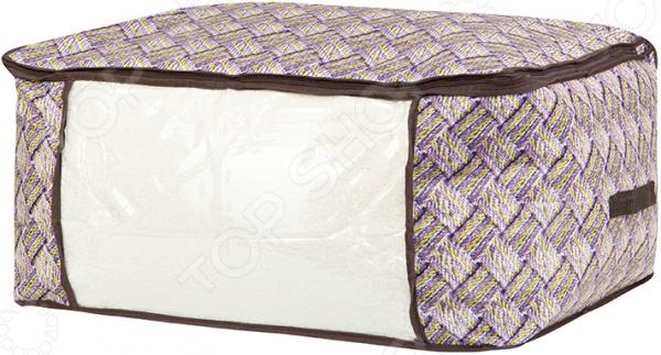 Кофр для хранения одеял и пледов EL Casa «Плетенка» кофр для хранения одеял и пледов el casa звезды цвет розовый 80 х 60 х 25 см