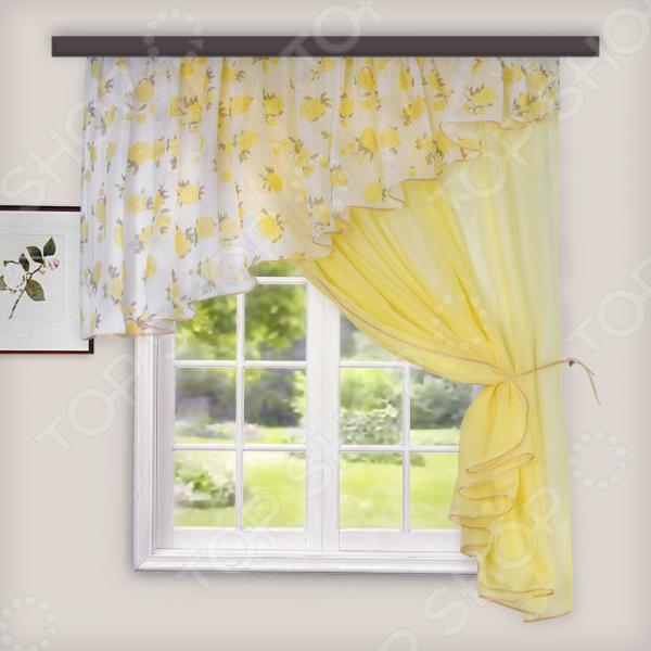Комплект легких штор правосторонний WITERRA «Лира». Цвет: золотистый. В ассортименте