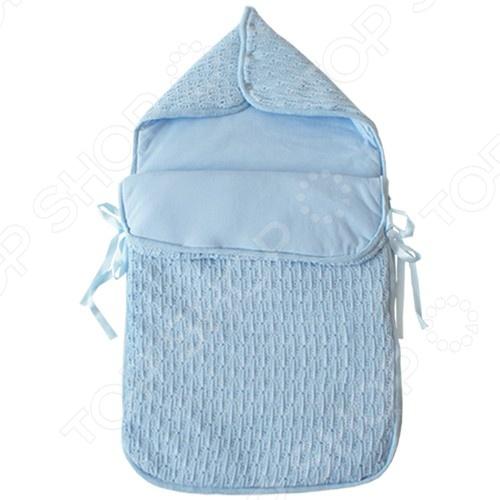 Конверт для новорожденных EKO Ажурный утепленный конверт, сшит из хлопка и акрила, наполнен полиэстером. Материал прилегает к коже ребенка, не вызовет раздражения и аллергических реакций на нежной коже малыша. В таком конверте малышу будет тепло и комфортно в холодную зимнюю погоду.