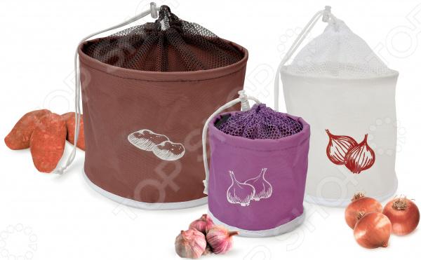 Набор сумок для хранения картофеля, лука и чеснока IRIS Barcelona 1700610 форма д хранения чеснока и лука 600мл керамика