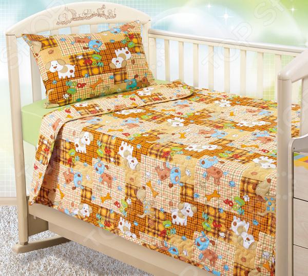 Покрывало стеганое детское ТексДизайн «Тузик» желтое покрывало на кровать