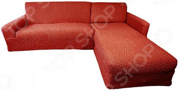 Zakazat.ru: Натяжной чехол на угловой диван с выступом справа Еврочехол «Микрофибра. Терракотовый»