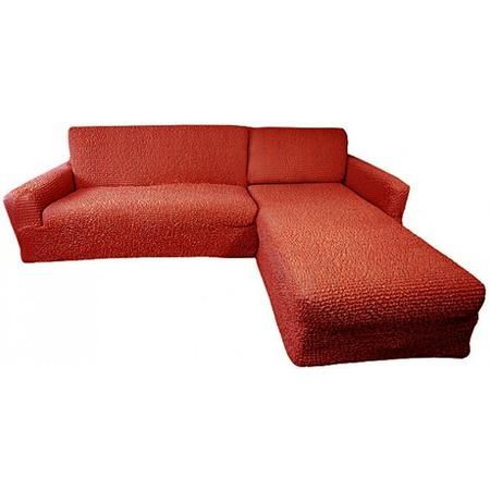 Купить Натяжной чехол на угловой диван с выступом справа Еврочехол «Микрофибра. Терракотовый»