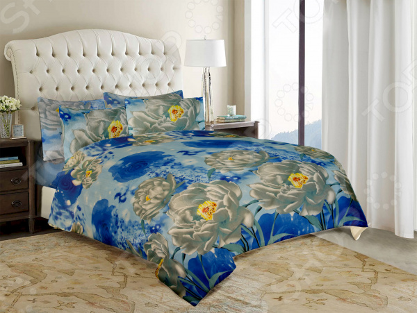 Комплект постельного белья «Нежность». Евро. Цвет: голубой