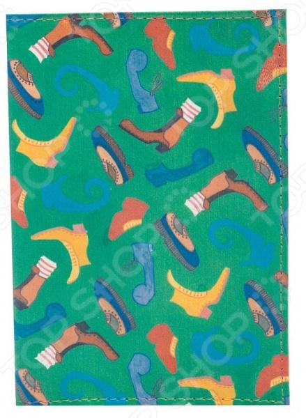 Обложка для паспорта кожаная Mitya Veselkov «Ботинки на зеленом»