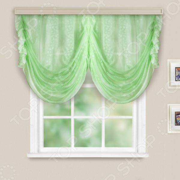 Тюль на кулиске WITERRA «Римини» с тиснением. Цвет: светло-зеленый