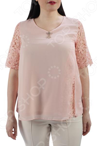 Блуза ТРЕНД «Цветущая сакура». Цвет: бежевый цена 2017