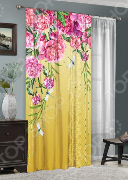 фото Комплект: фотоштора и тюль ТамиТекс «Примавера», Фотошторы с цветами/пейзажами