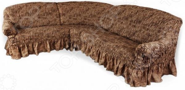 Натяжной чехол на угловой диван Еврочехол «Фантазия. Шоколад» 1