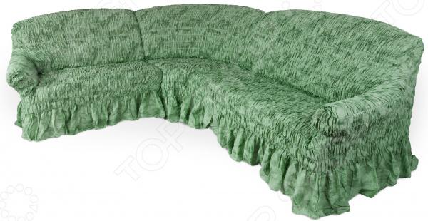 Натяжной чехол на угловой диван Еврочехол «Фантазия. Зеленый»