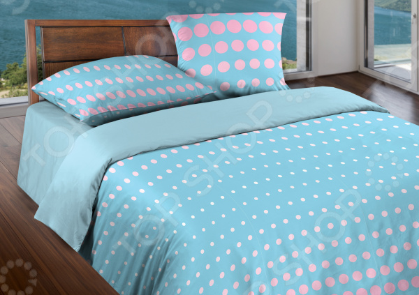 Комплект постельного белья Wenge Dot. 1,5-спальный. Цвет: розовый, небесно-голубой