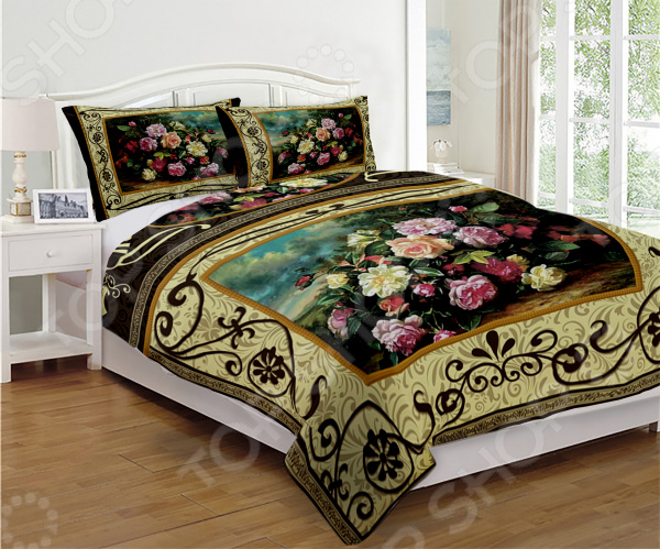Комплект постельного белья Дикая роза это незаменимый элемент вашей спальни. Человек треть своей жизни проводит в постели, и от ощущений, которые вы испытываете при прикосновении к простыням или наволочкам, многое зависит. Чтобы сон всегда был комфортным, а пробуждение приятным, мы предлагаем вам этот комплект постельного белья. Приятный цвет и высокое качество комплекта гарантирует, что атмосфера вашей спальни наполнится теплотой и уютом, а вы испытаете множество сладких мгновений спокойного сна. Комплект выполнен из ткани, состоящей на 100 из полиэстера, и обладает следующими преимуществами:  Гладкий и приятный на ощупь материал. Тип ткани атлас.  Рисунок нанесен на ткань с применением современных технологий печати, что делает его не только выразительным, но и долговечным.  Материал гипоаллергенен и безопасен для здоровья. Перед первым применением комплект постельного белья рекомендуется постирать. Перед этим выверните наизнанку наволочки и пододеяльник. Для сохранения цвета не используйте порошки, которые содержат отбеливатель. Рекомендуемая температура стирки 40 С и ниже без использования кондиционера или смягчителя воды. Обновите свою кровать таким комплектом постельного белья, и интерьер вашей комнаты заиграет новыми красками.