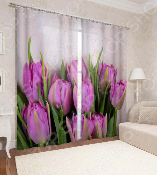 Фотошторы Сирень «Розовые тюльпаны» 14025