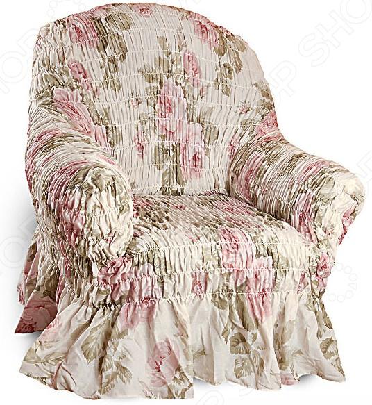 Натяжной чехол на кресло Еврочехол Еврочехол «Фантазия. Чайная роза»
