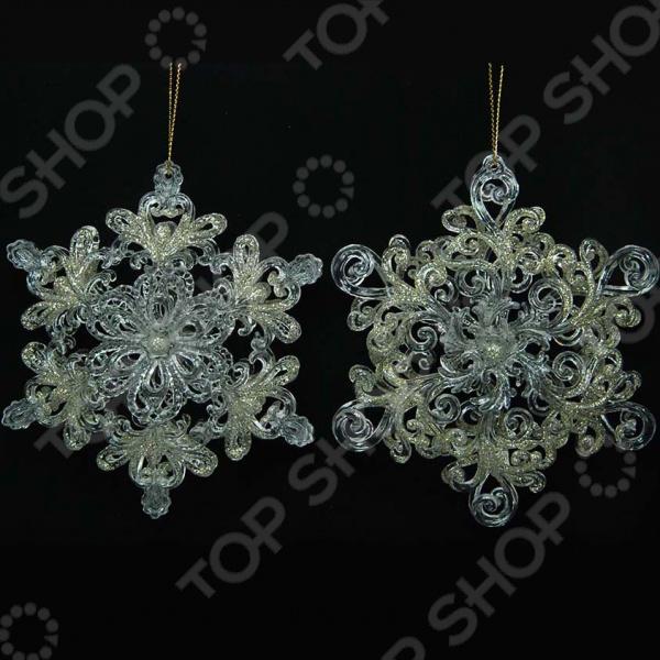 Новогоднее украшение Crystal Deco «Снежинка узорная». В ассортименте новогоднее украшение crystal deco шар капля в ассортименте