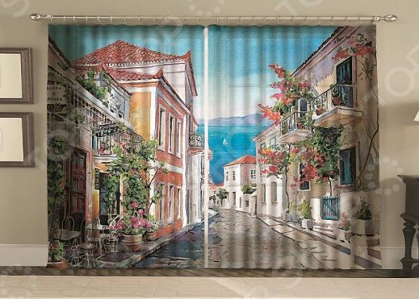 Комплект фотоштор с тюлем «Акварельная улица»