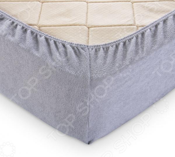 Простыня на резинке ТексДизайн махровая. Цвет: серый