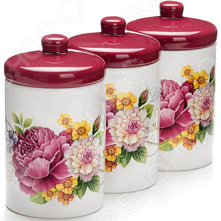 Набор банок для сыпучих продуктов Loraine LR-26237 «Букет» набор банок для сыпучих продуктов loraine бабочки 6 предметов 25633