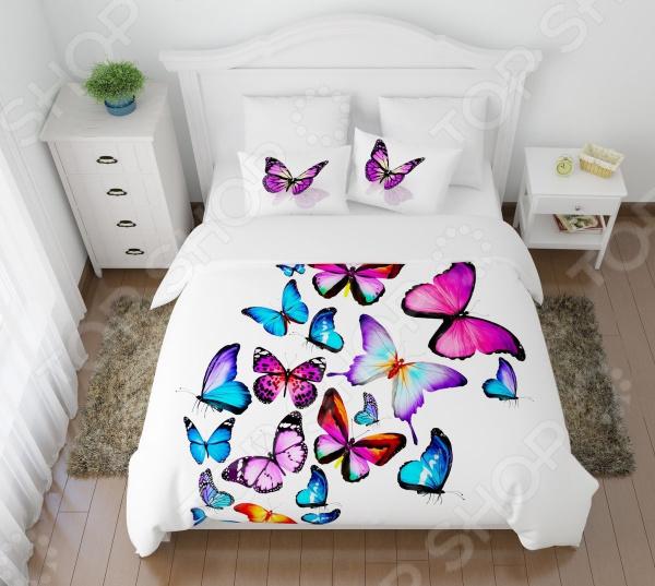 Комплект постельного белья Сирень «Яркие бабочки». 2-спальный