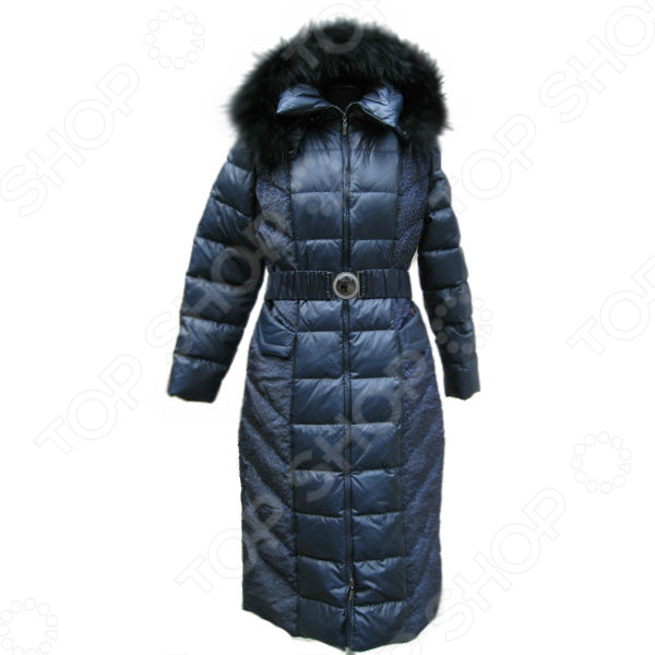 Пуховое пальто Sirenia Изабелла. Цвет: синий