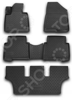 Комплект 3D ковриков в салон автомобиля Novline-Autofamily Hyundai Grand Santa Fe 2013 коврик в багажник novline hyundai grand santa fe кроссовер 2013 разложенные сиденья заднего ряда полиуретан nlc 20 58 b13