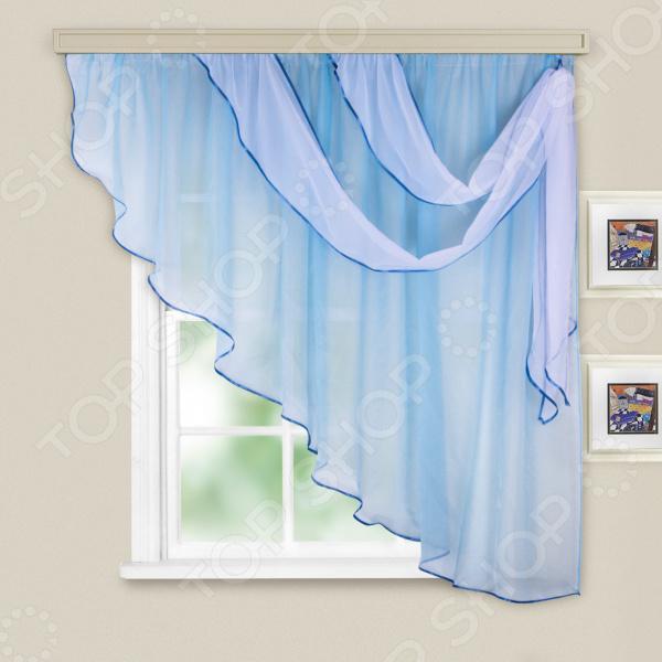 Комплект легких штор правосторонний WITERRA «Азалия». Цвет: голубой