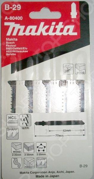 Набор пилок для лобзика по дереву и пластику Makita A-80400 пилки для лобзика makita b 22 t118a