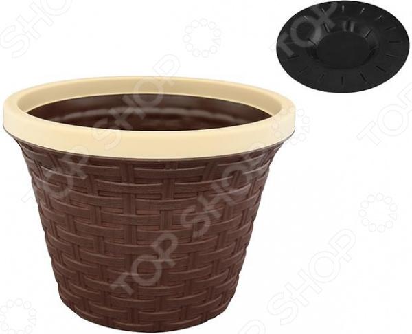 Кашпо круглое с дренажем Violet «Ротанг». Цвет: коричневый