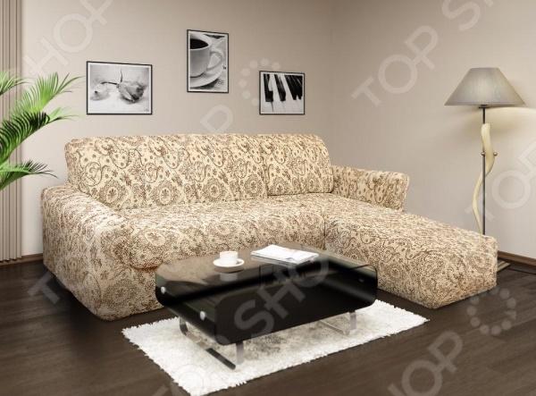 Натяжной чехол на угловой диван с выступом справа Еврочехол «Виста. Флоренция» 3