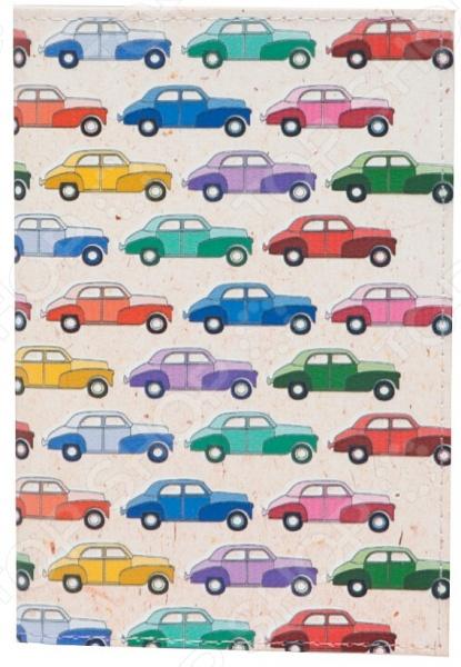 Обложка для паспорта кожаная Mitya Veselkov «Цветные машинки»