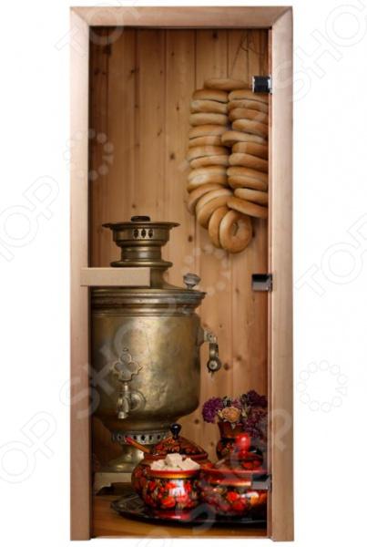 Дверь для бани с фотопечатью Банные штучки «Чаепитие» 32682 печь для бани и сауны костёр парус 24