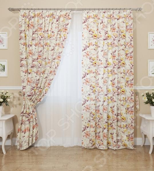 Комплект штор Сирень «Песочные цветы»